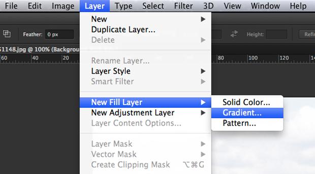 Adicione uma adjustment layer de Gradient (Foto: Reprodução/André Sugai)