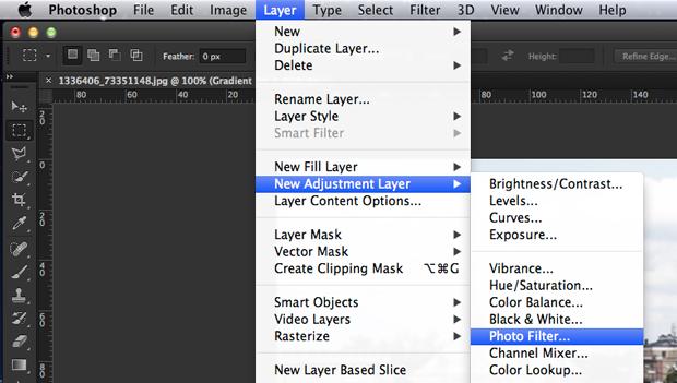 Adicione uma adjustment layer de Photo Filter (Foto: Reprodução/André Sugai)