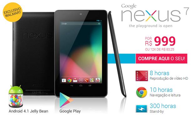 Nexus 7 chegou ao Brasil pela rede Walmart (Foto: Divulgação)