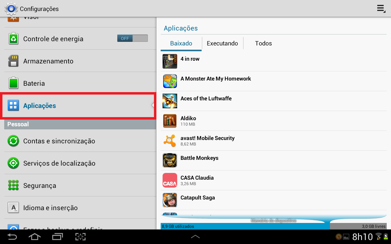 """Android lista aplicativos instalados através da aba """"Aplicações"""" (Foto: Daniel Ribeiro/TechTudo)"""