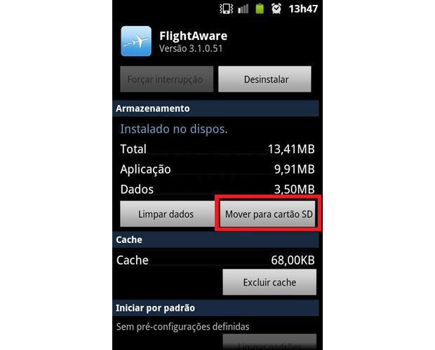 Androids antigos oferecem a opção de mover aplicativos para cartão de memória (Foto: Daniel Ribeiro/TechTudo)