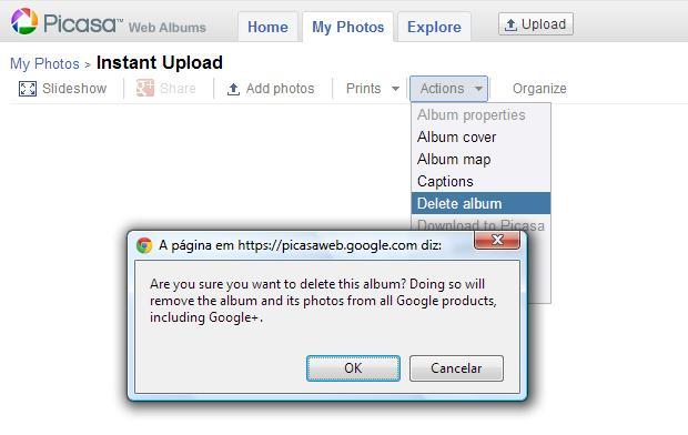 Álbum duplicado pode ser excluído e desaparecerá também do aplicativo Galeria, no Android (Foto: Reprodução Picasa / Melissa Cruz)