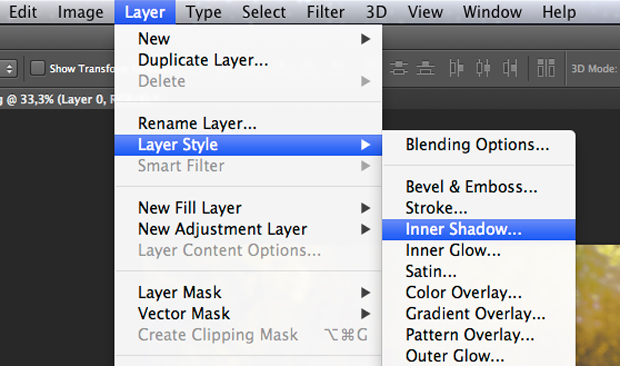 Caminho no Photoshop para o estilo Sombra Interna. (Foto: Reprodução/André Sugai)