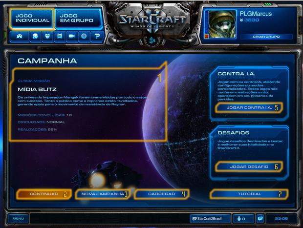 Tela Inicial para o modo de jogo individual (Foto: Reprodução / StarCraft2 Brasil)