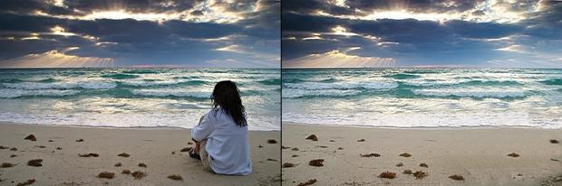 Pessoa eliminada da foto com o Photoscape (Foto: Reprodução/ Raquel Freire)