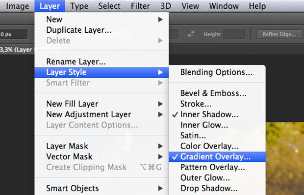 Caminho no Photoshop para o estilo Sobreposição de Gradiente. (Foto: Reprodução/André Sugai)