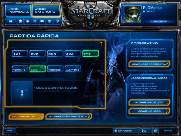 Tela Inicialdo modo de jogo em Grupo (Foto: Reprodução / StarCraft2 Brasil)
