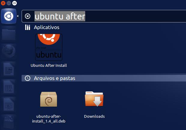 Executando o Ubuntu After Install a partir do dash (Foto: Reprodução/Edivaldo Brito)
