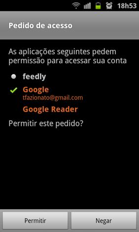 Requisição de permissão para acesar a conta do Google (Foto: Reprodução/ Thiago Bittencourt)
