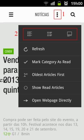 Opções de visualização do feed (Foto: Reprodução/ Thiago Bittencourt)