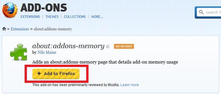 """Adicione a extensão """"about:addons-memory"""" ao Firefox (Foto: Reprodução/Marcela Vaz)"""