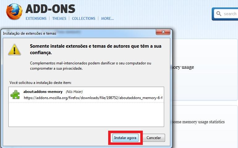 """Instalação da extensão """"about:addons-memory"""" ao Firefox (Foto: Reprodução/Marcela Vaz)"""