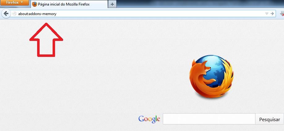 """Busca por resultados do complemento """"about:addons-memory"""" com dados da memória RAM ocupada por extensões do Firefox (Foto: Reprodução/Marcela Vaz)"""