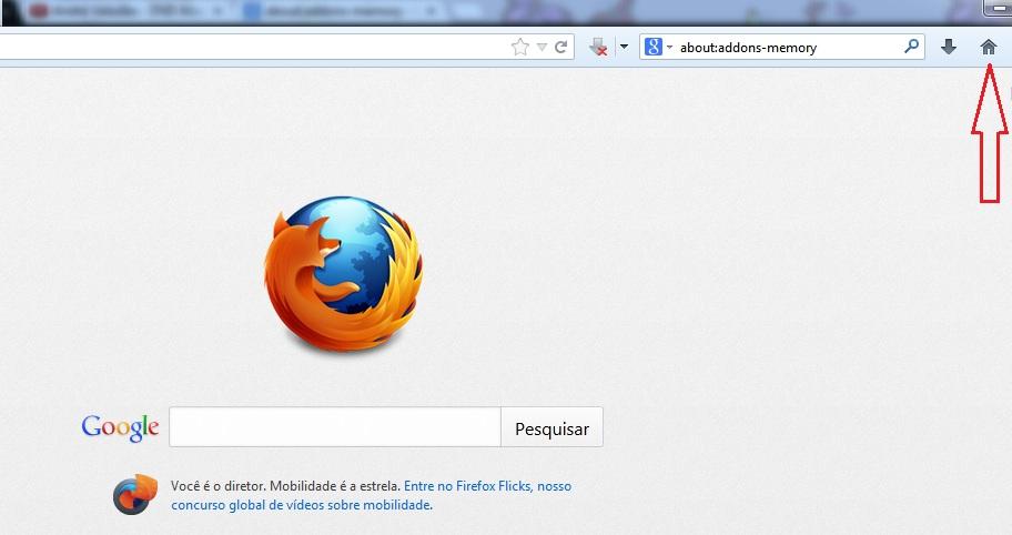 Para acessar a página inicial do Firefox, clique no ícone da casinha (Foto: Reprodução/Marcela Vaz) (Foto: Para acessar a página inicial do Firefox, clique no ícone da casinha (Foto: Reprodução/Marcela Vaz))