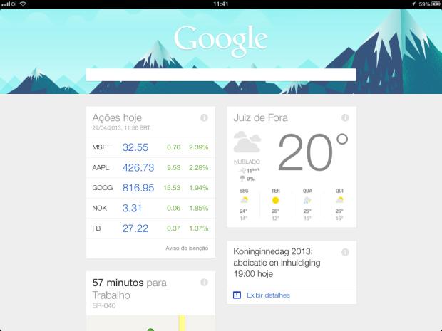 Google Now disponível para iPhone e iPad (Foto: Reprodução/Ricardo Fraga)