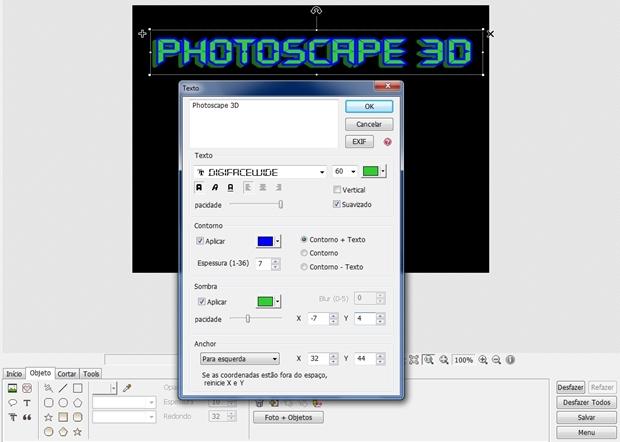 Janela de texto com fonte configurada para criar efeito 3D (Foto: Reprodução/ Raquel Freire)