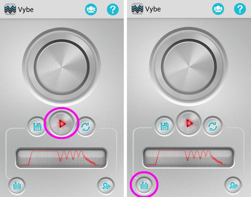 """Sinta a vibração usando o botão """"play"""". Os toques salvos são acessados através do ícone de frequência de áudio (Foto: Reprodução/Marcela Vaz)"""