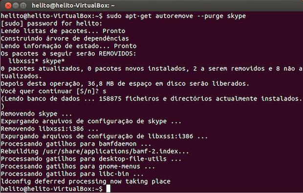 Removendo o Skype no Ubuntu (Foto: Reprodução/Helito Bijora)