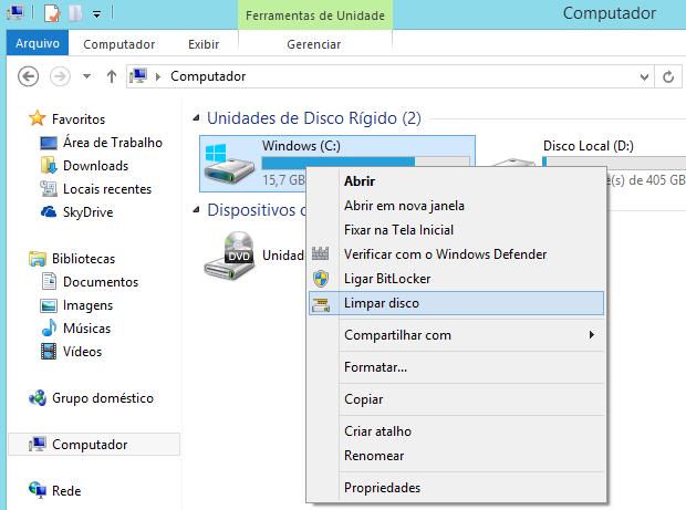 Opção 'Limpar disco' no menu de contexto (Foto: Reprodução/Helito Bijora)