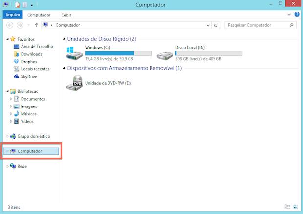 Explorador de Arquivos no Windows 8 (Foto: Reprodução/Helito Bijora)