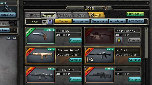 A loja oferece uma grande variedade de itens para combate. (Foto: Reprodução)