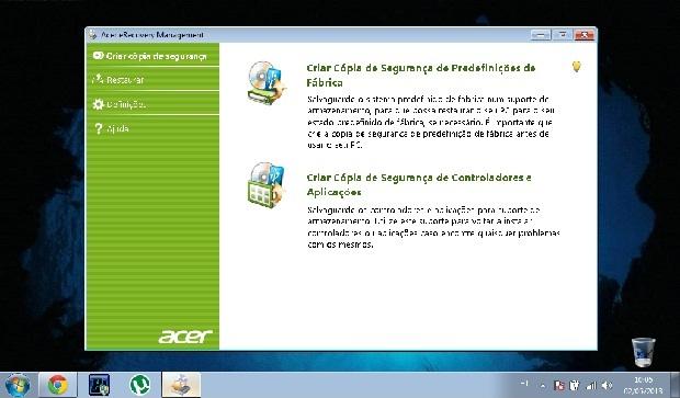 Opções de backup no próprio utilitário de recuperação da Acer (Foto: Reprodução/Ramon Cardoso)
