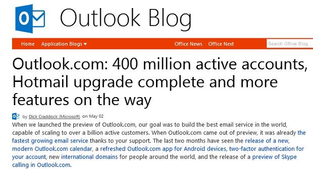 Outlook.com é o novo e-mail da Microsoft (Foto: Reprodução/Microsoft)