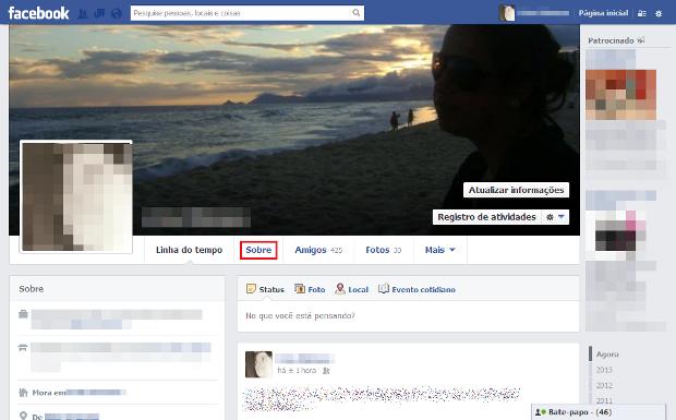 Linha do tempo do Facebook (Foto: Reprodução/Lívia Dâmaso)