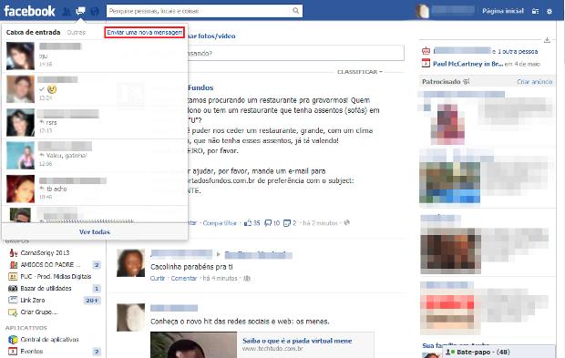 Atalho para acessar as mensagens e emails do Facebook (Foto: Reprodução/Lívia Dâmaso)