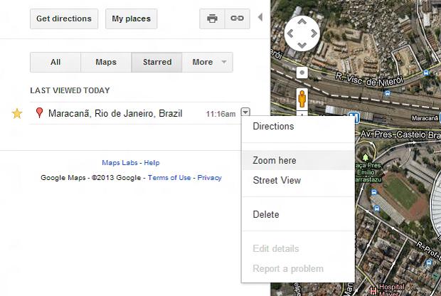 Favoritos aparecem em aba separada do Maps (Foto: Reprodução/Thiago Barros) (Foto: Favoritos aparecem em aba separada do Maps (Foto: Reprodução/Thiago Barros))