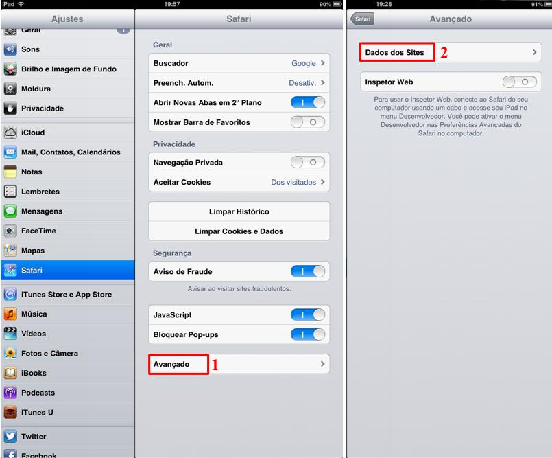 iOS oferece também a opção de apagar cookies específicos no menu ajustes (Foto: Thiago Bittencourt/TechTudo)