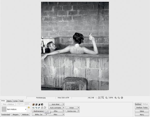 """Área de trabalho com legenda para ferramenta """"Espelho"""" (Foto: Reprodução/ Raquel Freire)"""