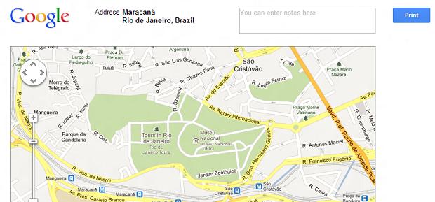Esta é a tela de impressão do Maps (Foto: Reprodução/Thiago Barros)