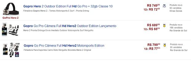 GoPro Hero 2 pode ser comprada mais em conta no Mercado Livre (Foto: Reprodução/Thiago Barros)