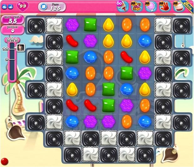 Fase 125 do Candy Crush Saga, com vidas e boosters infinitos (Foto: Reprodução/Raquel Freire)