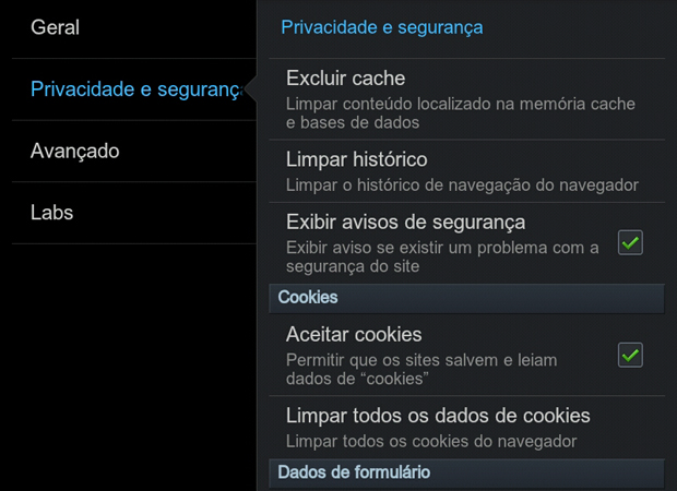 how to allow cookies on android
