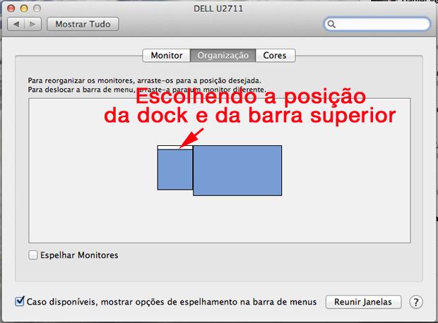 Escolhendo o monitor da dock e da barra superior (Foto: Reprodução/Hugo Carvalho)