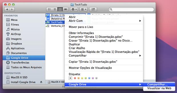 """Google Drive adiciona funcionalidade """"Compartilhar"""" em nova atualização (Foto: Reprodução/Leonardo Rodrigues)"""