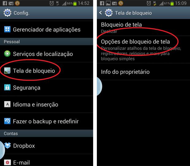 Galaxy S3 oferece opções configurações de comandos de voz no menu Tela de Bloqueio (Foto: Daniel Ribeiro/TechTudo)
