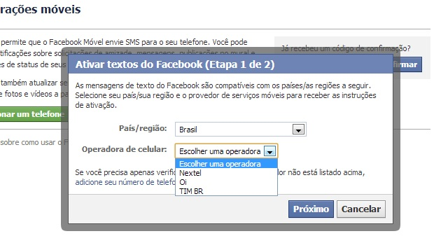 """Escolha uma operadora ou clique no link """"adicione seu número aqui"""" (Foto: Reprodução/ Guilherme Godin)"""