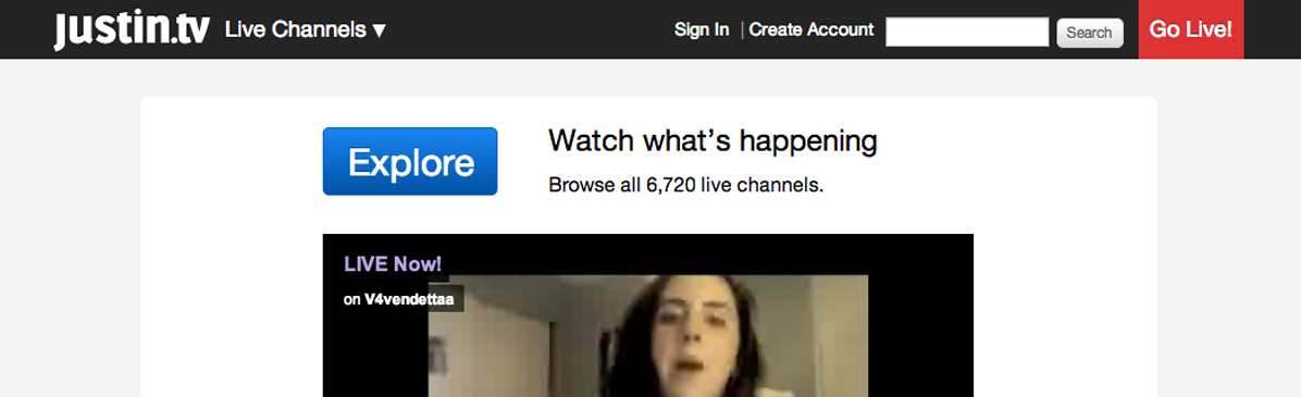 Justin.TV é considerada a maior comunidade de streaming de vídeos. (Foto: Reprodução)