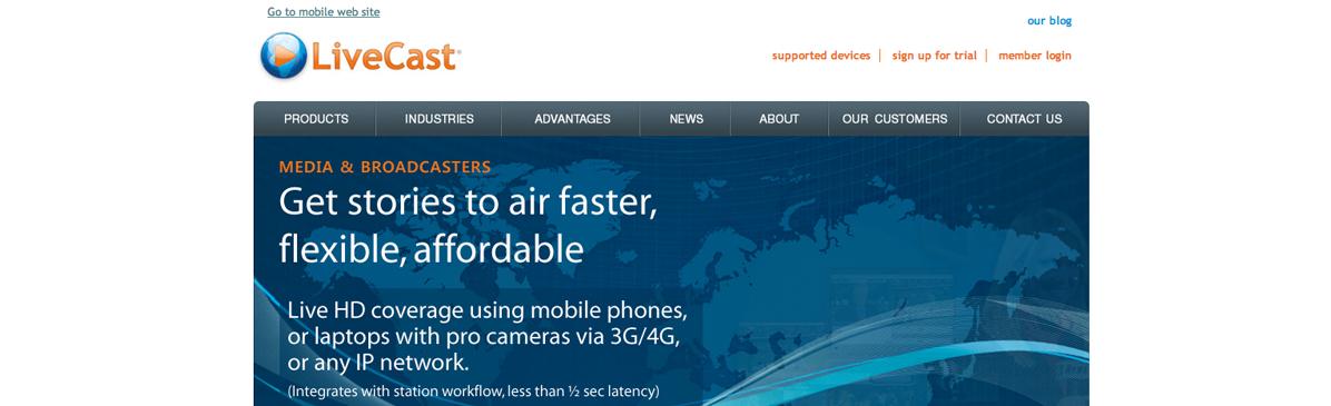O LiveCast trabalha com foco em streaming de conteúdo em dispositivos móveis. (Foto: Reprodução)