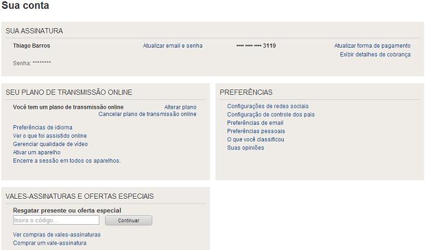 Neste menu, você tem acesso a várias configurações do Netflix (Foto: Reprodução/Thiago Barros)