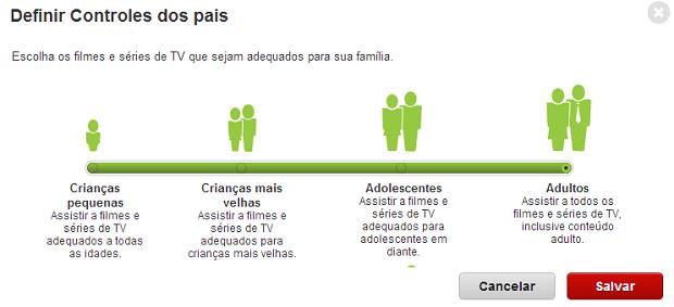 Controle parental tem quatro opções (Foto: Reprodução/Thiago Barros) (Foto: Controle parental tem quatro opções (Foto: Reprodução/Thiago Barros))