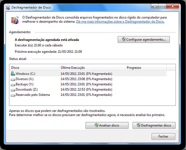 Desfragmentador de disco do Windows (Foto: Reprodução/Paulo Higa)