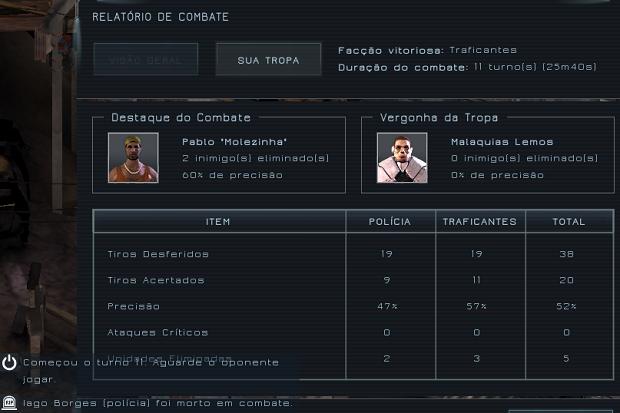 No fim do jogo, tela mostra estatísticas (Foto: Reprodução/Thiago Barros)