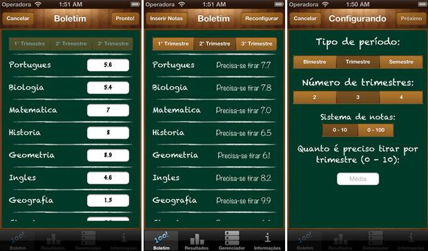 Captura de tela do iBoletim Brasil rodando em um iPhone (Foto: Reprodução)