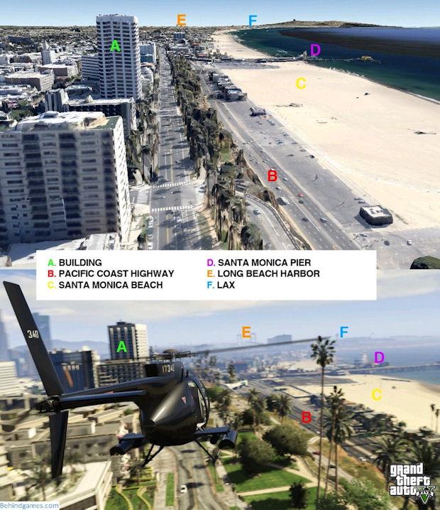 A praia de Santa Monica também possui uma semelhança incrível com a original (Foto: Reprodução/BehindGames)