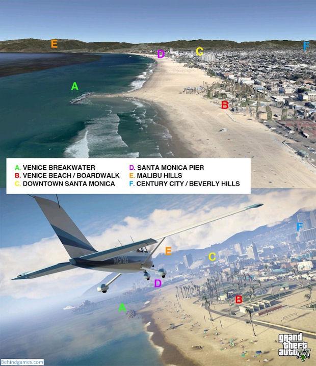 A versão digital da praia de Venice é quase idêntica à real (Foto: Reprodução/BehindGames)