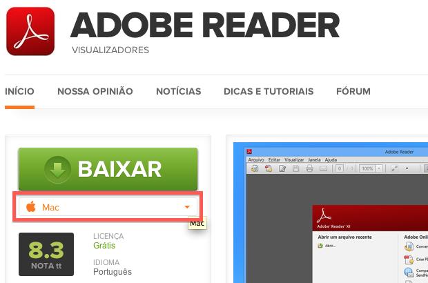 Baixando o Adobe Reader (Foto: Reprodução/Helito Bijora)